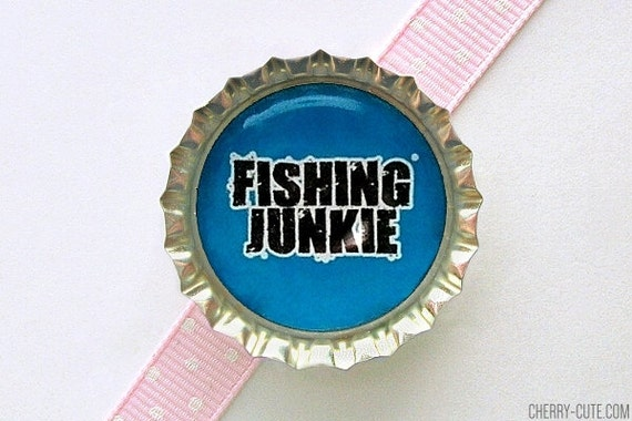 Fishing Junkie Blue Bottle Cap Magnet - fathers day gift ideas, mens gift, fridge magnet, fishing gift, fisherman decoration, fishing magnet
