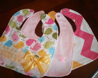 Baby Girl Bib Set, Newborn Gift, Shower Gift, Toddler, Baby Bib, Pink, Pink Pastel,, Fancy, Trendy, Elegant, Chic. Bows, Baby Bib