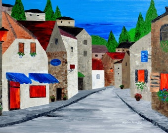 """old town paintings village quiet town original oil painting on canvas large 24x36"""" by Mariana Stauffer Malorcka"""
