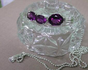 Amethyst Jewelry Set - Amethyst Necklace & Earrings Set - Oval Amethyst Necklace with Matching Oval Amethyst Earrings