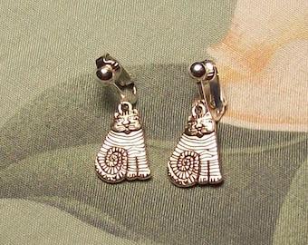 Tibet Silver Large Fat Cat Earrings Clip on or Pierced