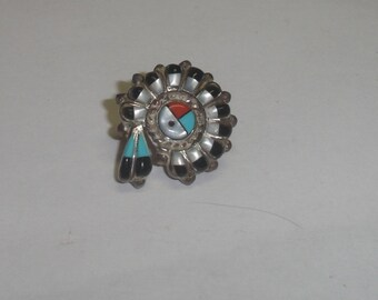 Vintage Southwest Sterling Silver Native American Zuni Inlaid Turquoise & Stones Sun God Cab Post Earring 4 Repurpose