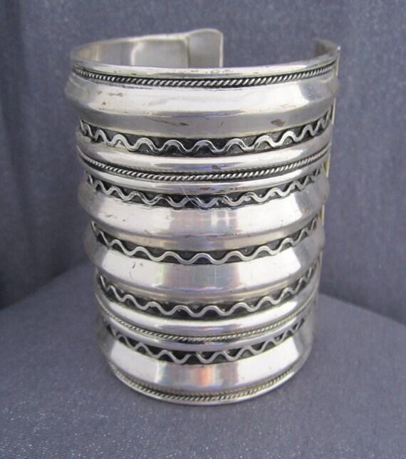 Super Wide Metal Tribal Cuff Bracelet, S