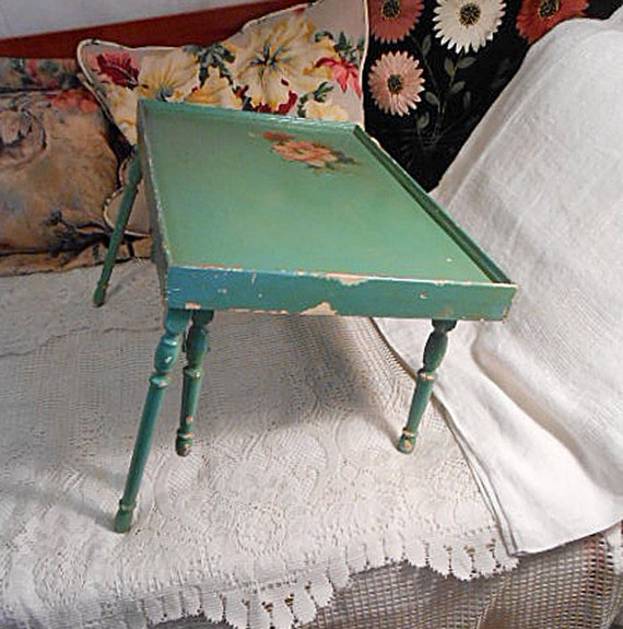 1930s Wood FOLDING BED TRAY Portable Tea Table Lap Desk 6