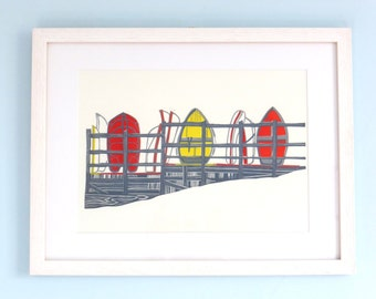 ORIGINAL lino print (Upnor Dinghies in Red)