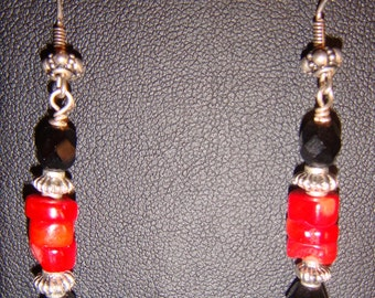 Red and Black Coral Earrings with Sterling Silver Accents