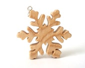 Snowflake Pendant Necklace Maple Hand Cut Wood Scroll Saw Winter Christmas Jewelry