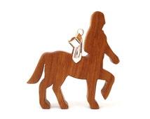 Wooden Centaur Pendant Necklace Medieval Fantasy Mythology  Sagittarius Jewelry Scroll Saw Hand Cut