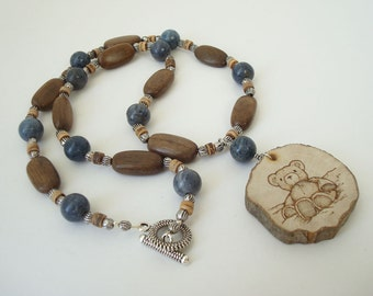 Teddy Bear Necklace Country Animal Jewelry Nature Beaded Bear Necklace Natural Wood Slice Pyrography Pendant