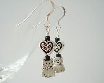 Celtic Heart Cat  Earrings Feline Dangle Earrings Kitty Cat Jewelry Cat Lover Gift Pet Earrings