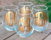 Stemless Monogrammed Wine Glass - Personalized Glass - Bridesmaid Gift