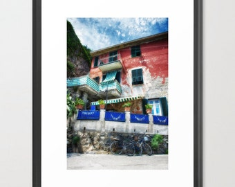 Monterosso, Cinque Terre, Tuscany, Italy, Bicycles, Architecture, Travel, Fine Art Photography, fPOE (6 Sizes) Framed, Canvas