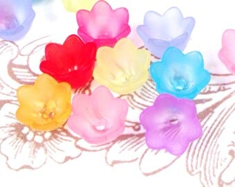 Tulip Bell Flower Mix, Acrylic Beads, Frosted, 10x6mm, 1.5mm Hole, Assorted Colors, Bead Caps, Lot Size 50 to 100, #1118
