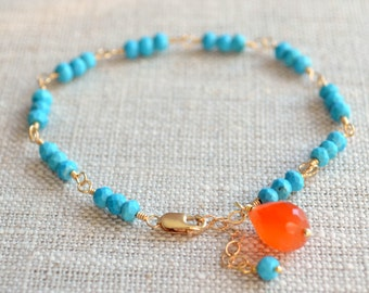 Real Turquoise Bracelet, Sterling Silver or Gold, Genuine Semiprecious Stone, Orange Carnelian, Gemstone Jewelry, Free Shipping