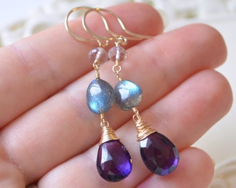 Labradorite and Amethyst Earrings, Dark Purple Gemstones, Ametrine, Gold Filled, February Birthstone Jewelry, Free Shipping