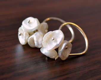 White Keishi Pearl Earrings, Sterling Silver, Cluster, French Hook Earwires, Freshwater Flower Blossom, Bridesmaid Jewelry, Free Shipping