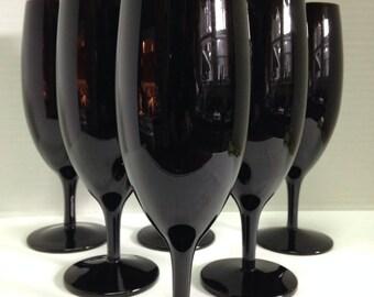 Vintage Set of 6 Mikasa Black Wine Glasses Champagne Glasses Black Crystal Champagne Flute