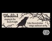 Raven Cross Stitch, Blackbird Cross Stitch, Crows Silhouette, Cross Stitch Bird, Bird Silhouette, Raven Cross Stitch,from NewYorkNeedleworks