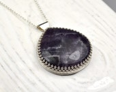 Amethyst Reversible Silver Pendant with Etched Rose, One of a Kind Pendant