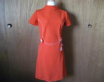 1960-1970 Orange Polyester Belted Dress