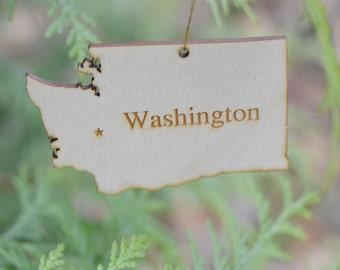 Natural Wood Washington State Ornament