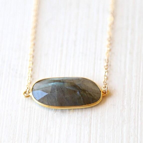 horizontal labradorite gemstone bar necklace 14k gold. Black Bedroom Furniture Sets. Home Design Ideas
