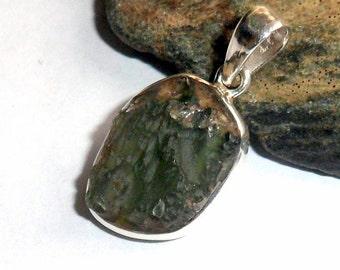 Natural Moldavite Gemstone Pendant 19 Sterling Silver earthegy