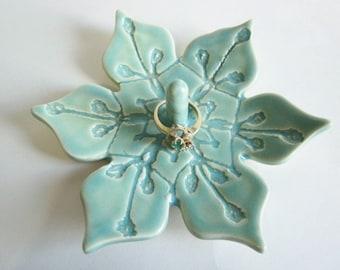 Ring dish Ring holder Mint green flower gift