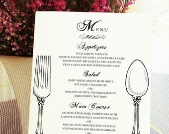 Menu Card - Vintage Silverware Sketch - Fork Spoon or Knife - Weddings or Events