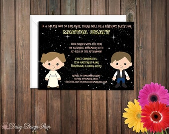 Birthday Party Invitations - Star Wars Inspired - Galactic Space Princess - Set of 20 with Envelopes