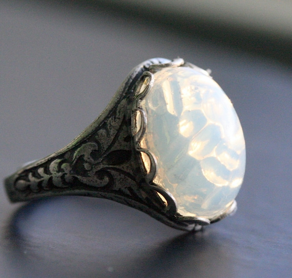 Items Similar To Opal Ring Exquisite Braided Opal: Items Similar To Pinfire White Opal Sterling Silver Ox