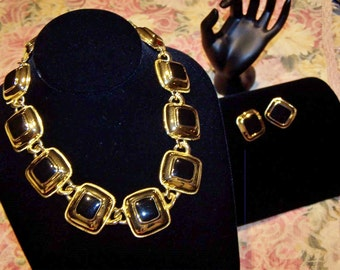 Gold Toned Demi Parure Necklace and Earring Set