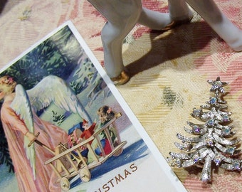 Silver Aurora Borealis Rhinestone Christmas Tree Brooch Signed ANCER