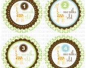 Monthly onesie baby stickers Giraffe themed first year stickers-green brown orange - Months 1-12 - Print on your own