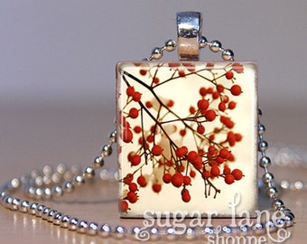 Winter Berries Necklace - Ivory, Red, Brown - Scrabble Tile Pendant with Chain