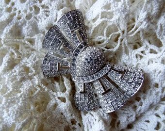 Dazzling Art Deco Style, Black Tie Faux Diamond Bow Brooch