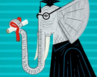 Intelligent Elephant -  Animal Art Poster print by Oliver Lake - iOTA iLLUSTRATiON