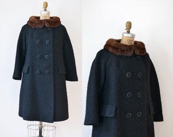1960s Black Boucle Wool Coat / 60s Swing Coat with Mink Collar