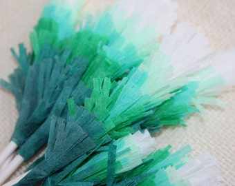 Ombre Green Fringe Cupcake and Cake Toppers (Set of 12)