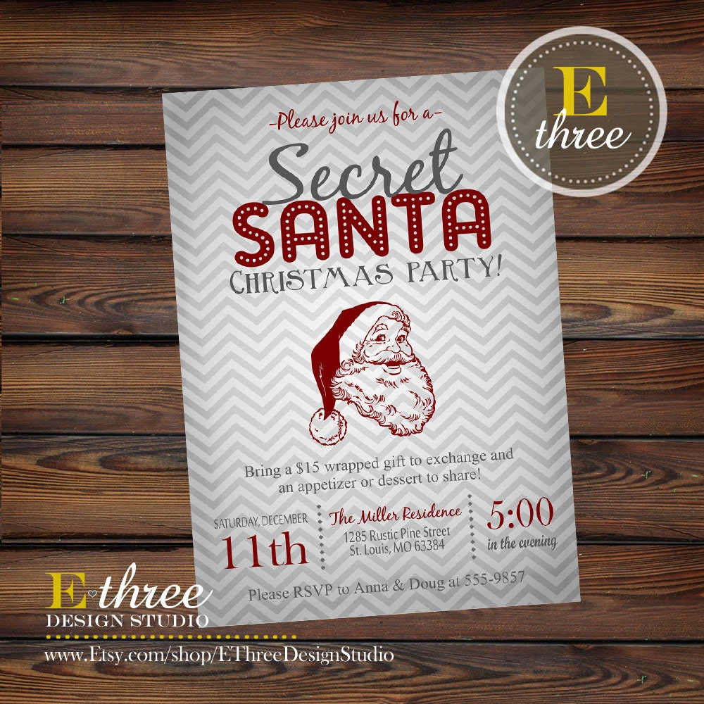 Christmas Party Invitation Secret Santa By EThreeDesignStudio