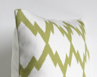 Ikat Pillow Sham, Pillow Cover, Green Pillow Cover, 18x18 Ikat Cushion Cover, 18 Inch Pillow Cover, Pillow Cases - Ikat Trellis Pistachio