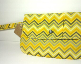 Yellow Chevron Wristlet Clutch with Grey Floral Print Lining and Vintage Button
