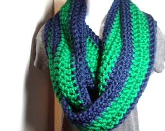 Green and Blue Crocheted Chunky Extra Long Infinity Scarf