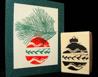 Christmas ornament rubber stamp