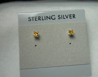Square Yellow Sapphire Earrings