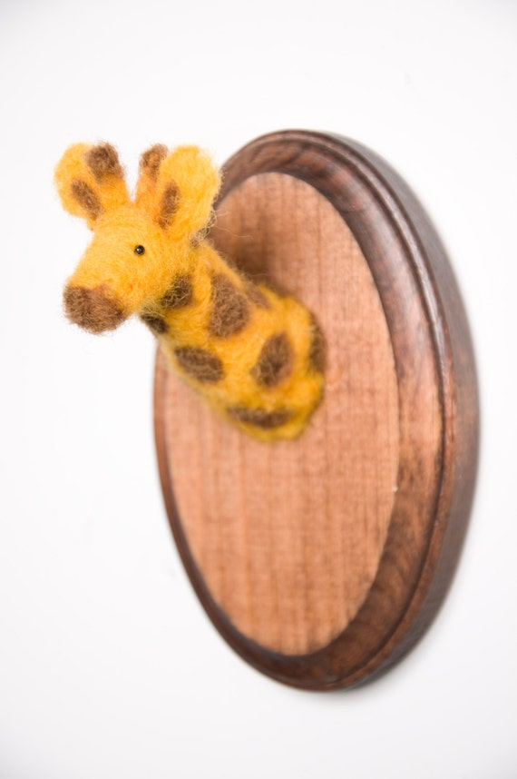 Miniature Needle-felted Giraffe Mounted Head on Wooden Plaque