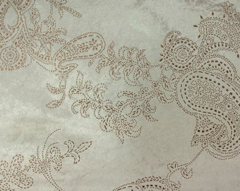 Paisley Ivory & Copper Velvet Dew Drops 150 cm Width Fabric By the Yard Curtain Fabric Panel Drapery Window Treatment Fabric Bedroom Curtain