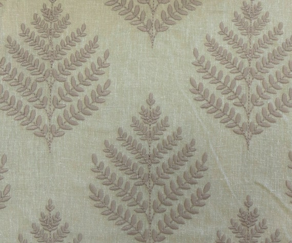 Linen beige leaves fabric vl by the yard curtain