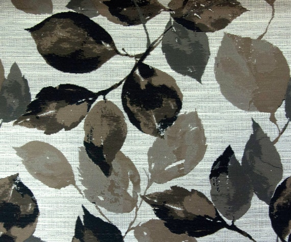 Black Grey Leaves Fabric By The Yard Curtain Fabric