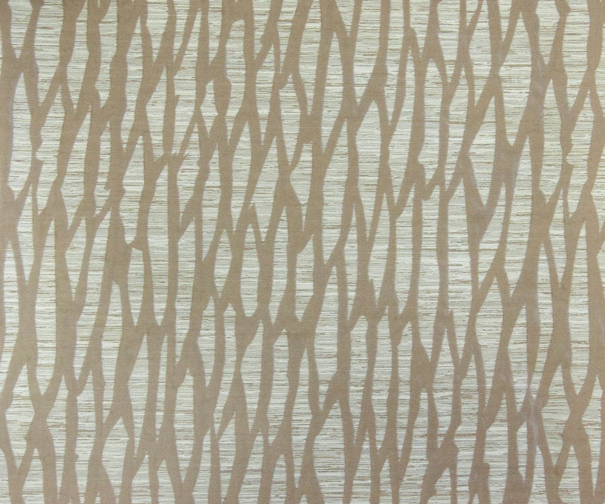 Beige Abstract Jacquard Weave Fabric By The Yard Curtain